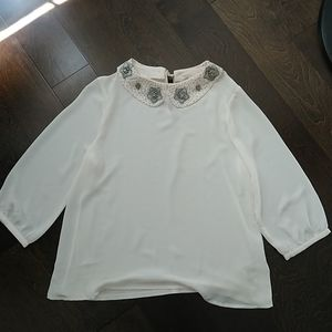 NWOT LC Lauren Conrad cream embellished blouse